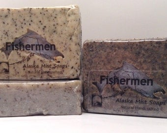 Fisherman's Soap, All Natural Soap, Exfoliating Coffee Soap, Gift for Him, Vegan Soap, Fishermen Soap, Hunter's Soap, Alaska Handmade Soap