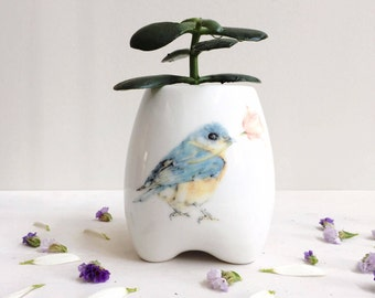Bluebird Ceramic Planter, Handmade Plant Pot, Indoor Flower Pot, Mother's Day Gift, Whimsical Art