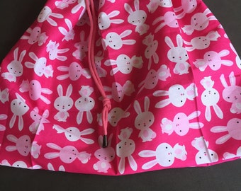 Rabbits on Pink library bag, swimming bag, etc