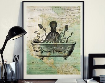 Vintage Map of North America Octopus Bath Sea Ocean Seaside Nautical Poster Instant Download Printable A4 A3 8×10 & 11x14 Wall HQ300dpi