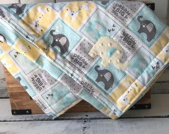 Gender Neutral Baby Bedding, Elephant Baby Blanket, Giraffe Baby Blanket, Dream Big Little One Blanket, Yellow Minky Blanket, Baby Shower