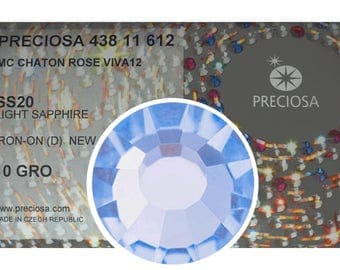 HOTFIX, 1440 Preciosa Genuine Czech Crystals 20ss Light Sapphire Viva12 Iron-on Flatbacks, ss20, 5mm, MC Chaton Rose Viva Rhinestones