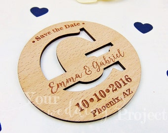 Initial Save the Date Magnet, Custom Engraved Save the Date, Wood Save the Date, Rustic Save the Date, Wedding Favors, Wedding Invitations