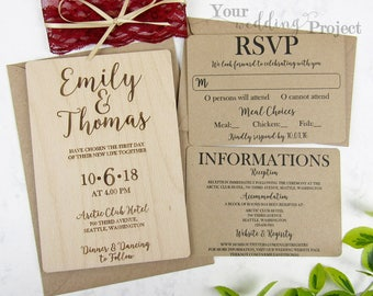 Real Wood Wedding Invitation Set with Lace | Custom Invitation, Rustic Invitation, Laser Cut Invitation, Engraved Invitation, Invitation set