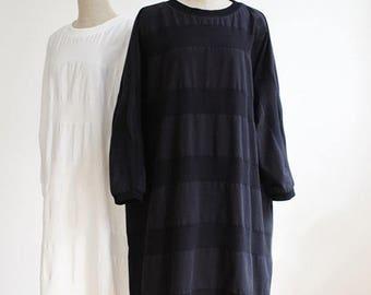 Womens Oversized Long Dress Tunic,Cotton Striped Dress,Spring Summer,Black / White