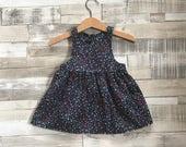 Floral Baby Dress | Baby Girls Dress | Navy Baby Dress | Floral Print Dress | Floral Pattern | Baby Summer Dress | Baby Cotton Dress