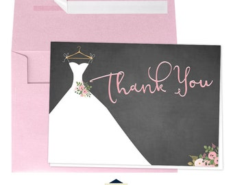 Chalkboard Bridal Shower Thank You Cards with a Dress - 4x6 Thank You Cards - Watercolor Floral - Blush - Instant Download Bridal-104