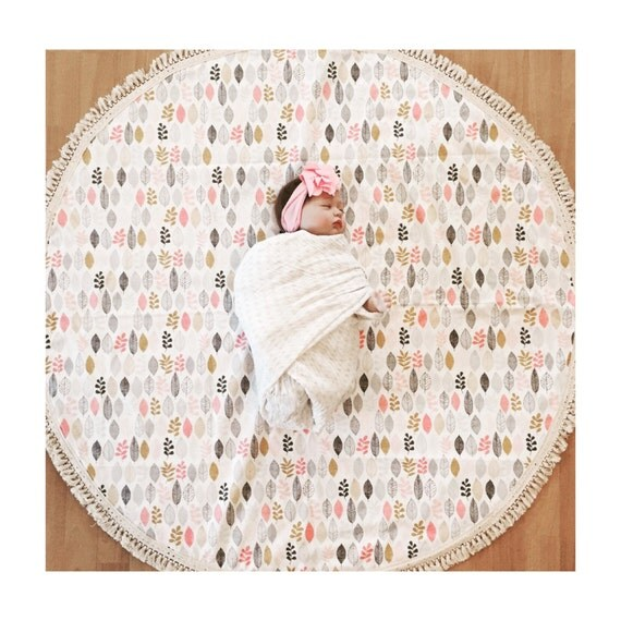 Round Baby Play Mat Organic Cotton Leaf Print Deer And Dot