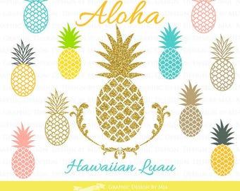 Golden Pineapple  / Gold Glitter / Hawaiian Party / Aloha / Luau / Pineapple Clip Art - Instant Download - CA091