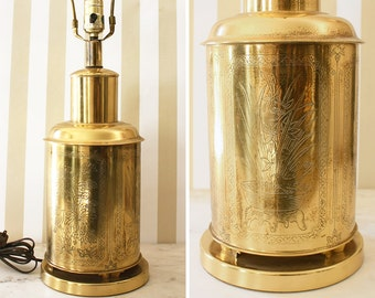 Vintage Chinoiserie Etched Brass Table Lamp