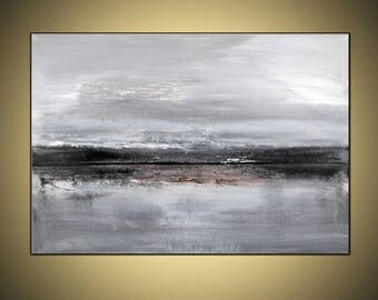 "Gray  Black White Brown abstract painting 36""x48""on gallery wrapped stretched canvas ready to hang"