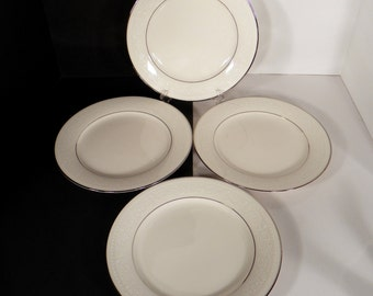 Noritake Sorrento Salad Plate (s) LOT OF 4 Retired White Flowers on Rim Platinum Trim