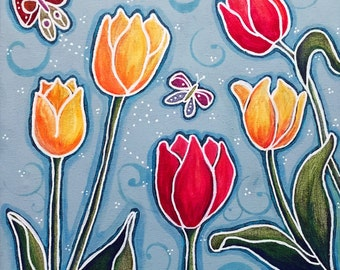 Tulips and Butterflies Giclee Print 10x10 Mixed Media