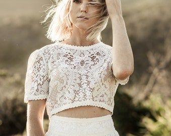 BILLIE - Two Piece Wedding Dress Handmade with Vintage Lace