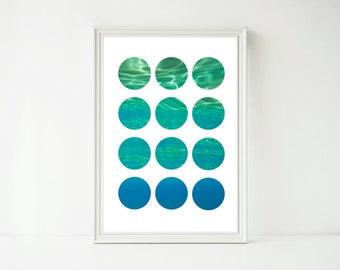 OCEAN WALL ART - Abstract Art Print - Art Print - Printable Art - Downloadable Prints - Circle Art - Blue Art - Instant Download