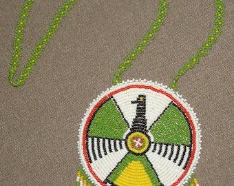 Native American Thunderbird Glass Seed Bead Necklace