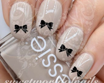 Black Bow Nail water Decals Transfers wraps
