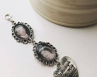 Wedding Bouquet Photo Charm, bridal bouquet memory charm, personalised wedding photo charm, buttonhole charm, memorial charm
