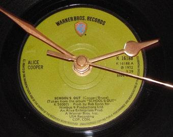 "Alice Cooper school's out  7"" vinyl record clock"