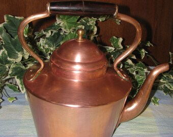 Italian Copper Tea Pot with wooden handle