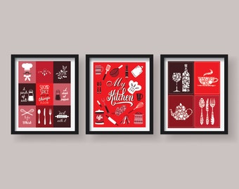 20 sale kitchen decor kitchen wall art kitchen prints for Red kitchen wall art
