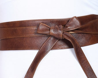 Rich Brown Leather Obi Belt | Waist Corset Belt | Real Leather Wrap Belt| Handmade Corset Belt | Waist Cincher Belt | Petite to Plus Size