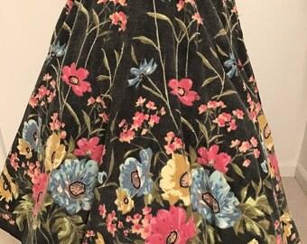 "Vintage ""Monica Paris"" Full Circle Corduroy Floral Skirt"