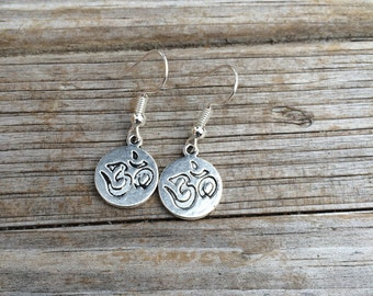 Ohm Earrings, Charm Earrings, Lotus Earrings, Yoga Earrings, Gifts for her