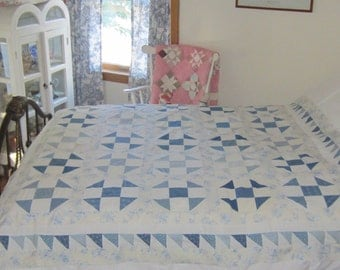 Strikingly Stunning Churn Dash Quilt Top with Saw-toothed border 67X68""