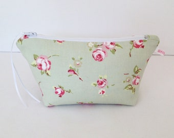 Sage Rosebud Make Up Bag, Cosmetic Bag, Floral Pouch