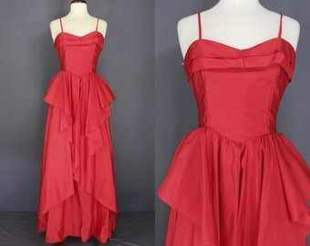 80's Prom Dress......Cherry Red Taffeta 80's Prom Dress NWT Never Worn Size XS