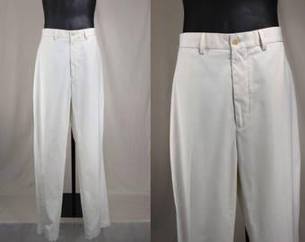 80's Pants.......80's White Flat Front Polo Golf Yacht Rock Pants