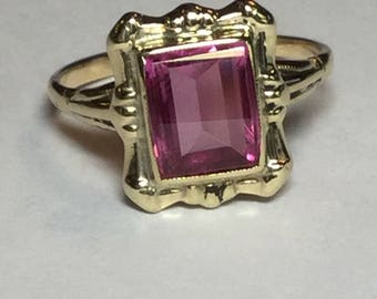 Vintage Mid Century 10k Yellow Gold Pink Stone Ring Size 6.5