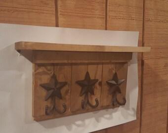 Entryway Coat Rack, Rustic Star, Key Holder, Entryway Decor, Rustic Decor, Coat Hook, Wall Mounted Coat Rack, Hooks, star decor, Cabin Decor