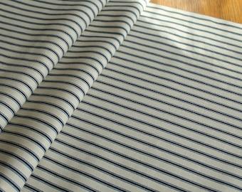 Navy & Cream Ticking Stripe Canvas Table runner, home decor, nautical, classic stripe