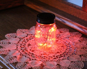 Mason Jar Solar Lid Light - Twinkling Red - Angel Lights - Firefly Lights - fairy lights, solar fairy lights, mason jar solar light