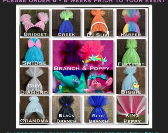 Troll Headbands, Trolls Inspired Costume accessory, Poppy Hair, Poppy Headband