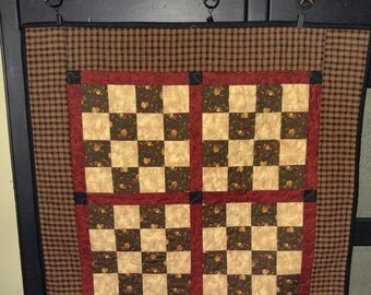Primitive Handmade Sixteen-Patch Wall or Table Quilt