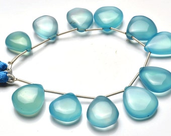 1  Full Stand 6 Inch Long Strand,Superb Sky Blue Color CHALCEDONY  Smooth Heart Shape Beads Briolettes 15 TO 19 MM size