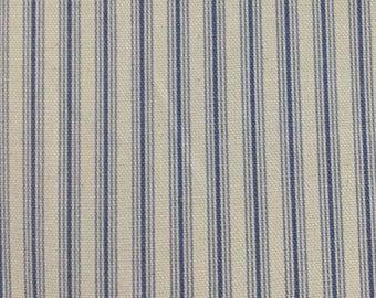 Powder Blue Ticking - Upholstery Fabric by The Yard