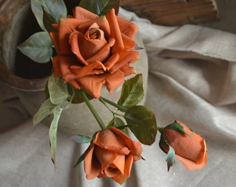 Burnt Orange Roses Spray Real Touch Flowers For Wedding Bouquets Centerpieces, 3 blooms/stem