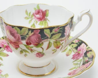 """Queen Anne """"Black Magic"""" Large Pink Roses Vintage Tea Cup and Saucer Fine Bone China Made in England 51"""
