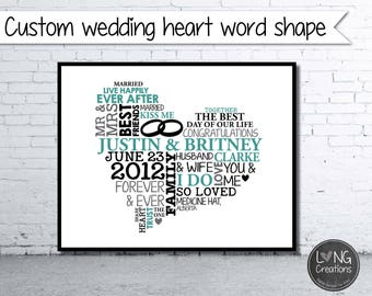 Heart Word Art - wedding heart art print - Wedding Gift - Anniversary Gift - Personalized Word Art - Typography - PRINTABLE DIGITAL FILE