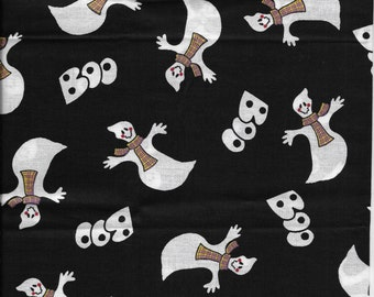 New Halloween Boo and Ghosts on Black 100% cotton fabric by the Fat Quarter