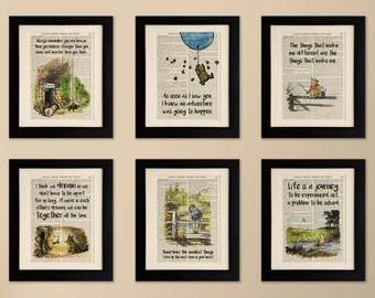 set of 6 mounted art prints on old antique book page winnie the pooh - Prints On Old Book Pages