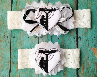 Lineman Garter Set | Black and White Lineman Wedding Garters | Bridal Garter and Toss Garter | Other Colors Available