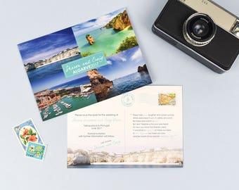 Save the Date Postcard for destination wedding in Algarve Portugal
