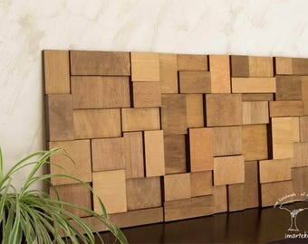 wood wall art large, mosaic wall art, mid century, wood wall art made of old reclaimed wood, exclusive gift, sustainable gift, hygge gifts