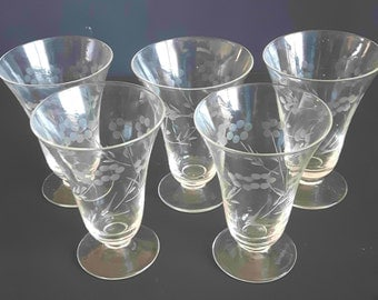 Footed Cordial Glasses with Etched Flower Design