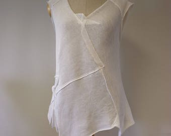 Summer transparent white linen top, L size.